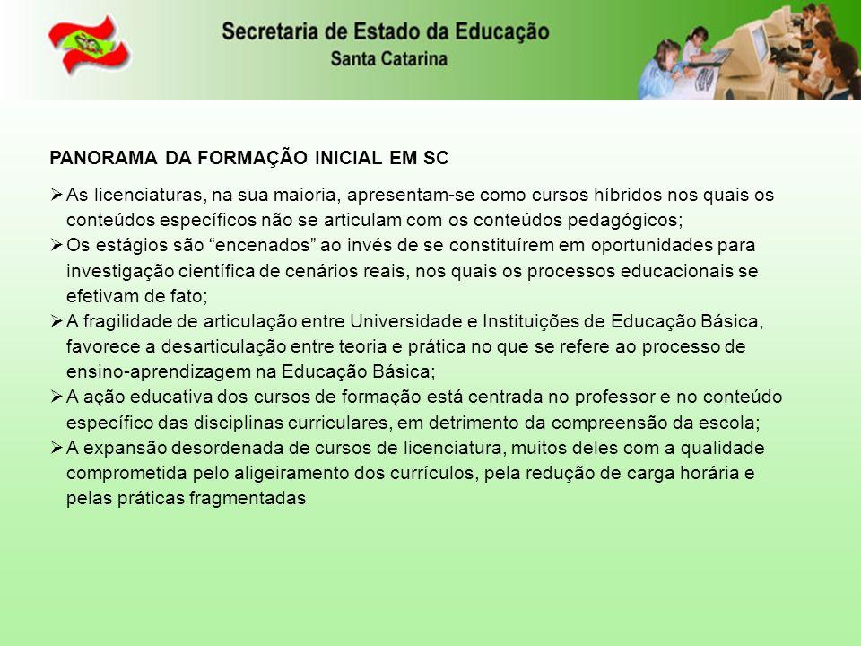 PANORAMA DA FORMAÇÃO INICIAL EM SC