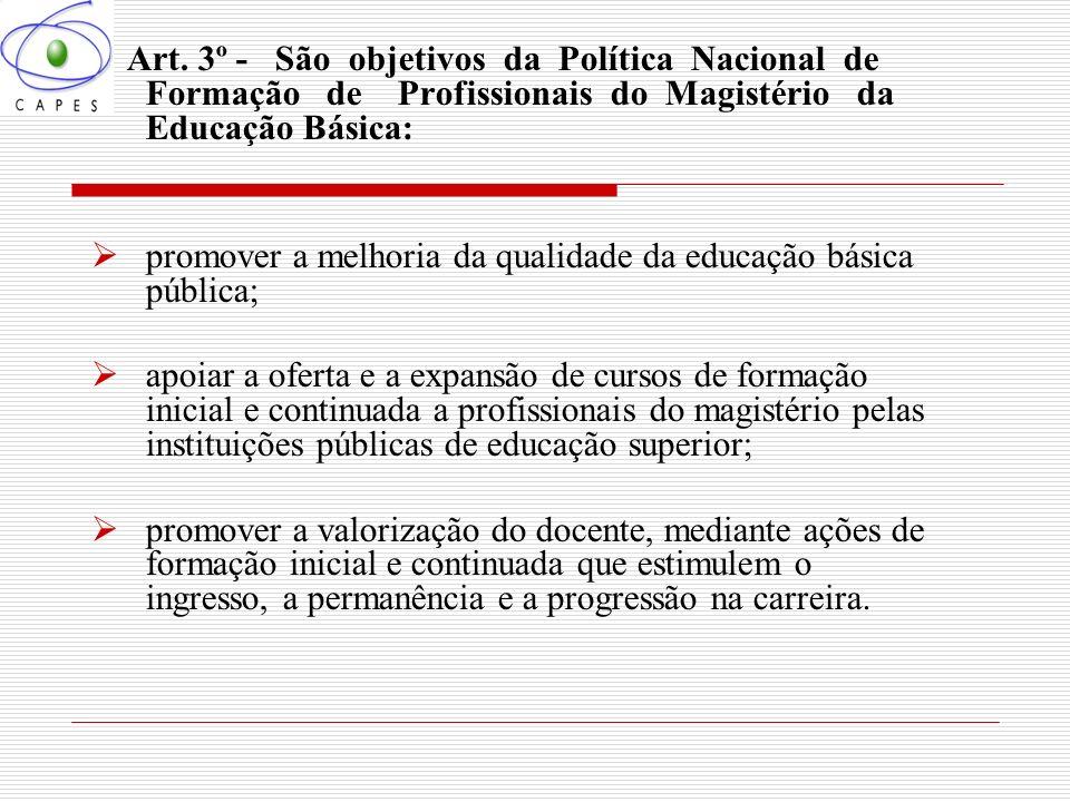 promover a melhoria da qualidade da educação básica pública;