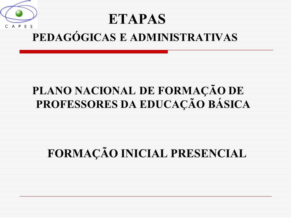 ETAPAS FORMAÇÃO INICIAL PRESENCIAL PEDAGÓGICAS E ADMINISTRATIVAS