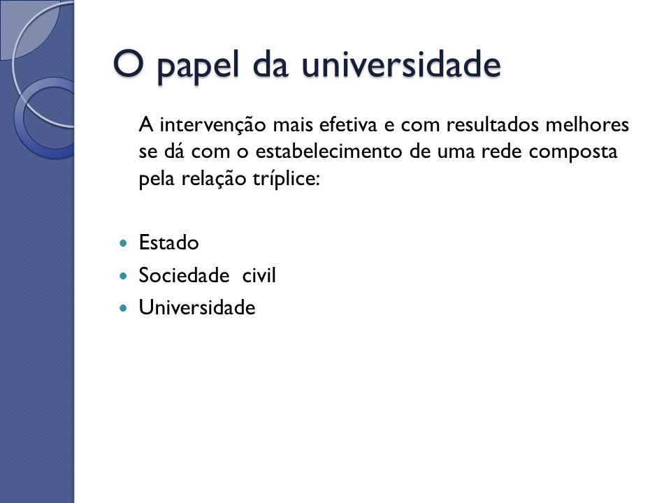 O papel da universidade