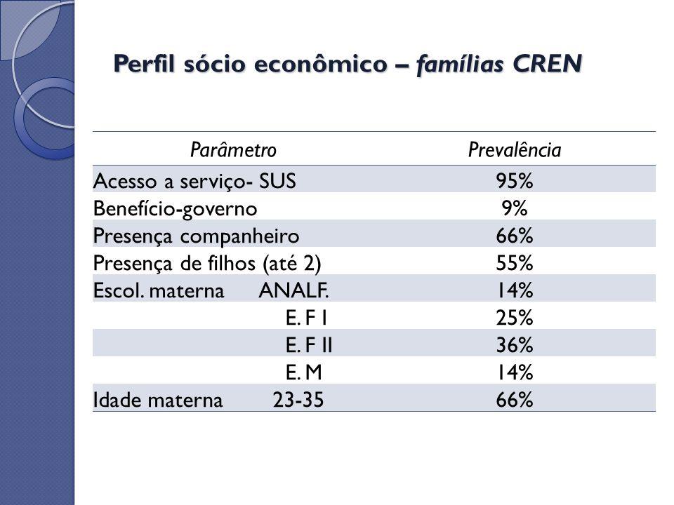 Perfil sócio econômico – famílias CREN
