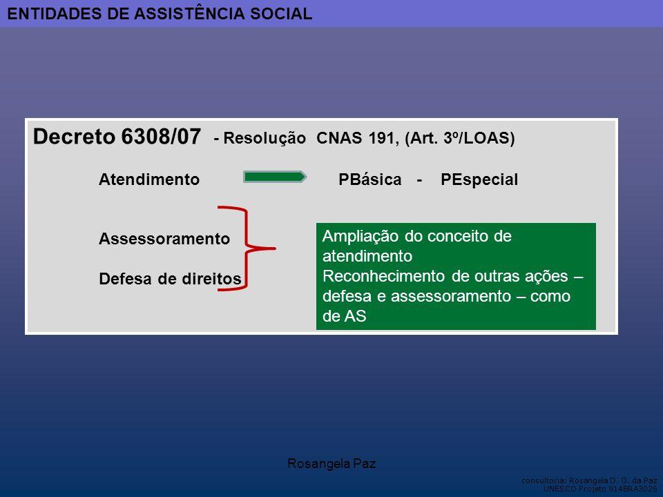 Decreto 6308/07 - Resolução CNAS 191, (Art. 3º/LOAS)