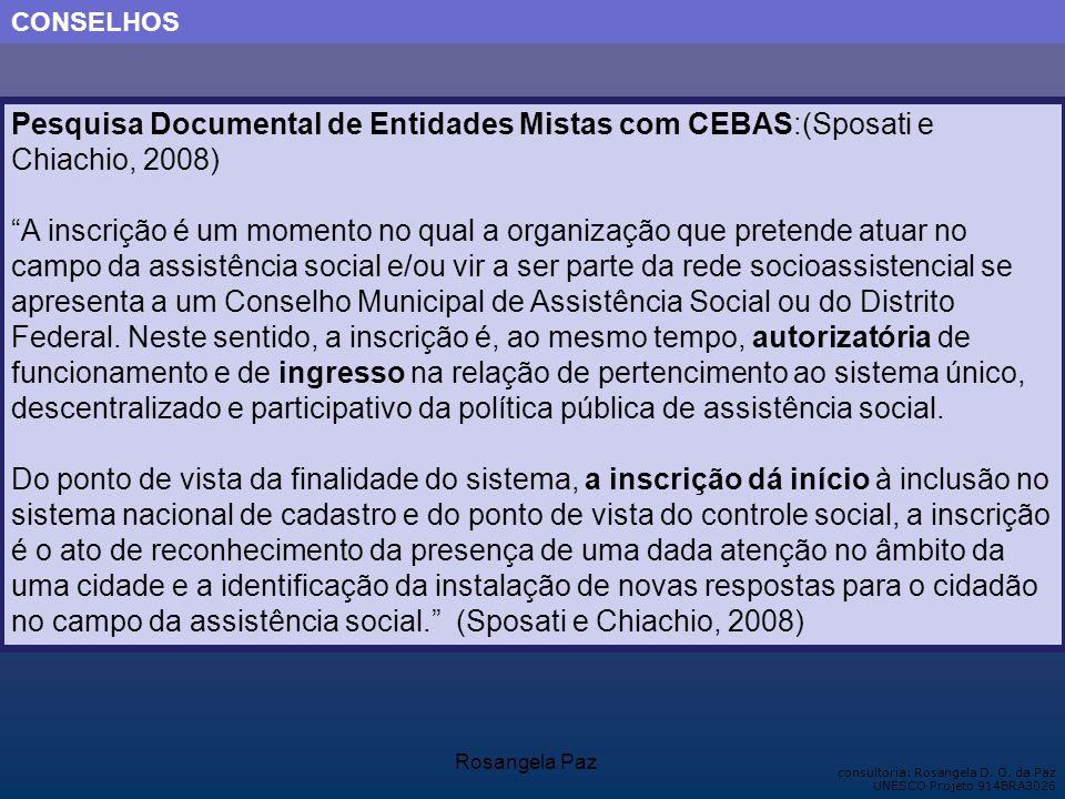 CONSELHOS Pesquisa Documental de Entidades Mistas com CEBAS:(Sposati e Chiachio, 2008)