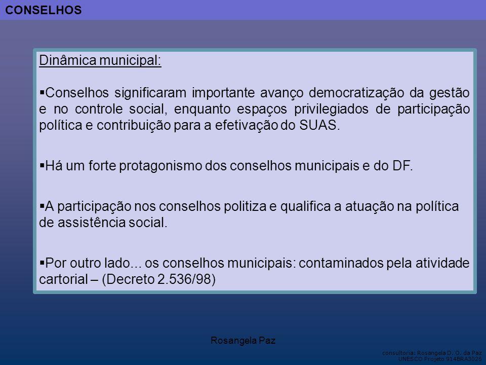 Há um forte protagonismo dos conselhos municipais e do DF.
