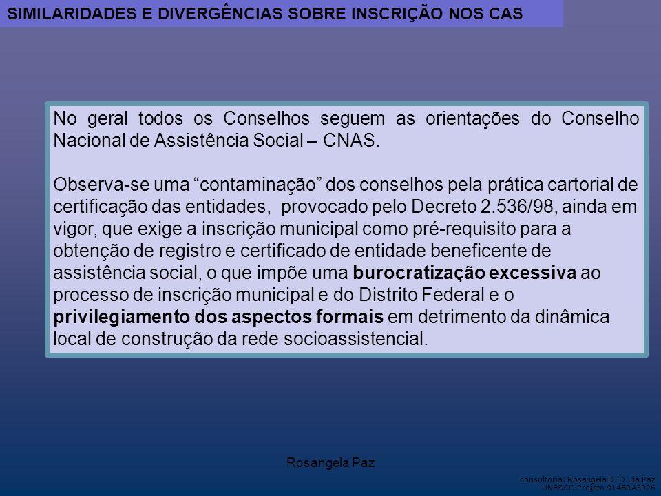 SIMILARIDADES E DIVERGÊNCIAS SOBRE INSCRIÇÃO NOS CAS