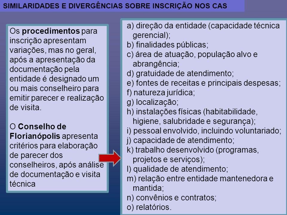 a) direção da entidade (capacidade técnica gerencial);