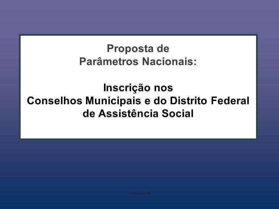 Proposta de Parâmetros Nacionais: Inscrição nos Conselhos Municipais e do Distrito Federal de Assistência Social