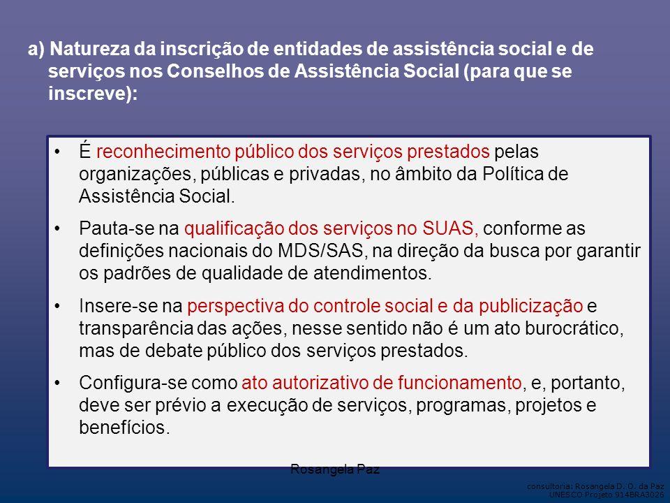 a) Natureza da inscrição de entidades de assistência social e de serviços nos Conselhos de Assistência Social (para que se inscreve):