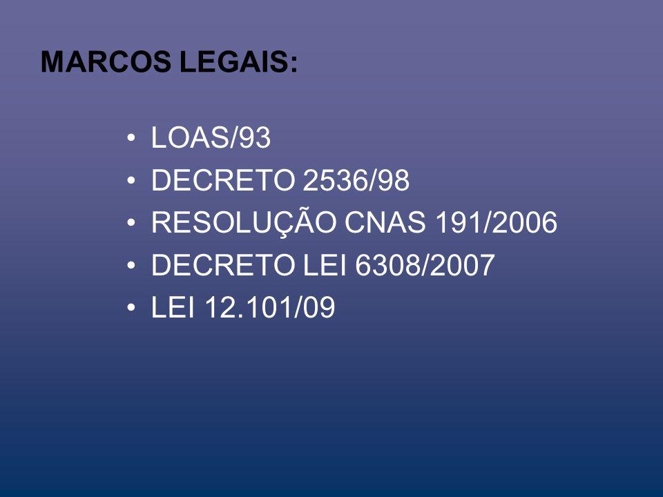MARCOS LEGAIS: LOAS/93 DECRETO 2536/98 RESOLUÇÃO CNAS 191/2006 DECRETO LEI 6308/2007 LEI 12.101/09