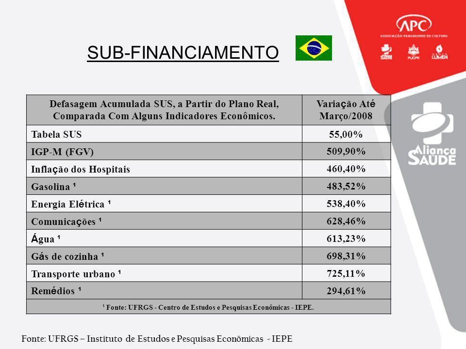 ¹ Fonte: UFRGS - Centro de Estudos e Pesquisas Econômicas - IEPE.