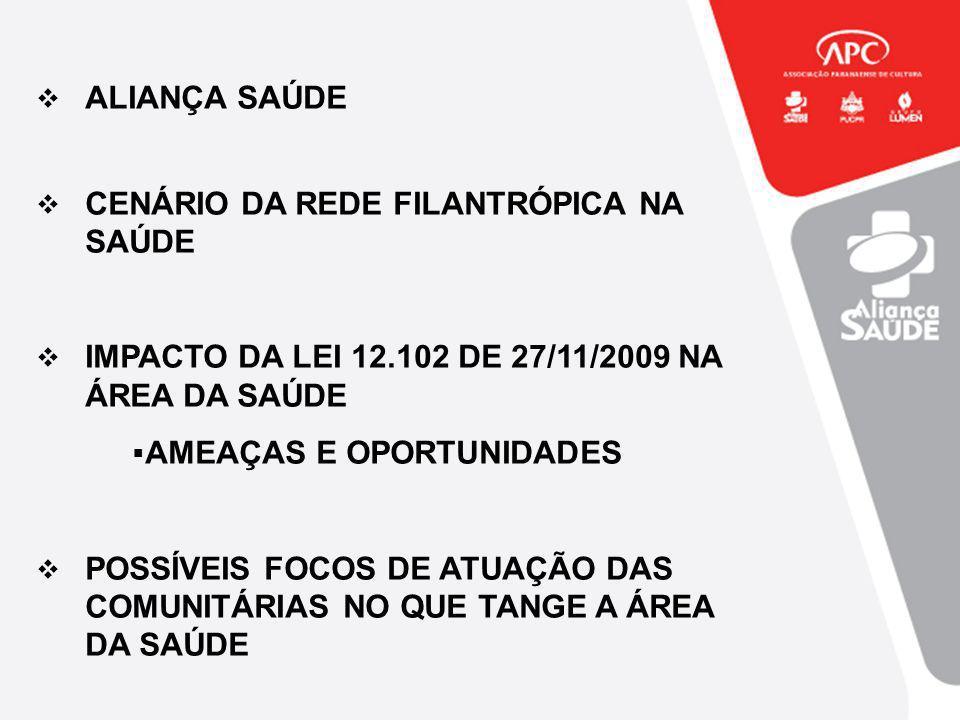 ALIANÇA SAÚDE CENÁRIO DA REDE FILANTRÓPICA NA SAÚDE. IMPACTO DA LEI 12.102 DE 27/11/2009 NA ÁREA DA SAÚDE.
