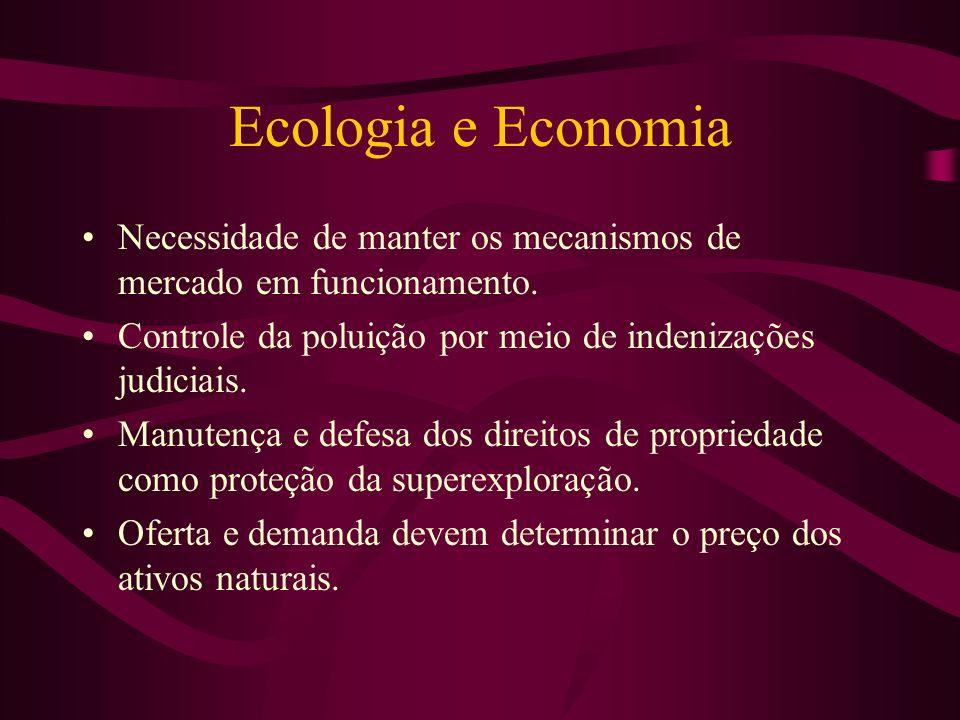 Ecologia e Economia Necessidade de manter os mecanismos de mercado em funcionamento. Controle da poluição por meio de indenizações judiciais.
