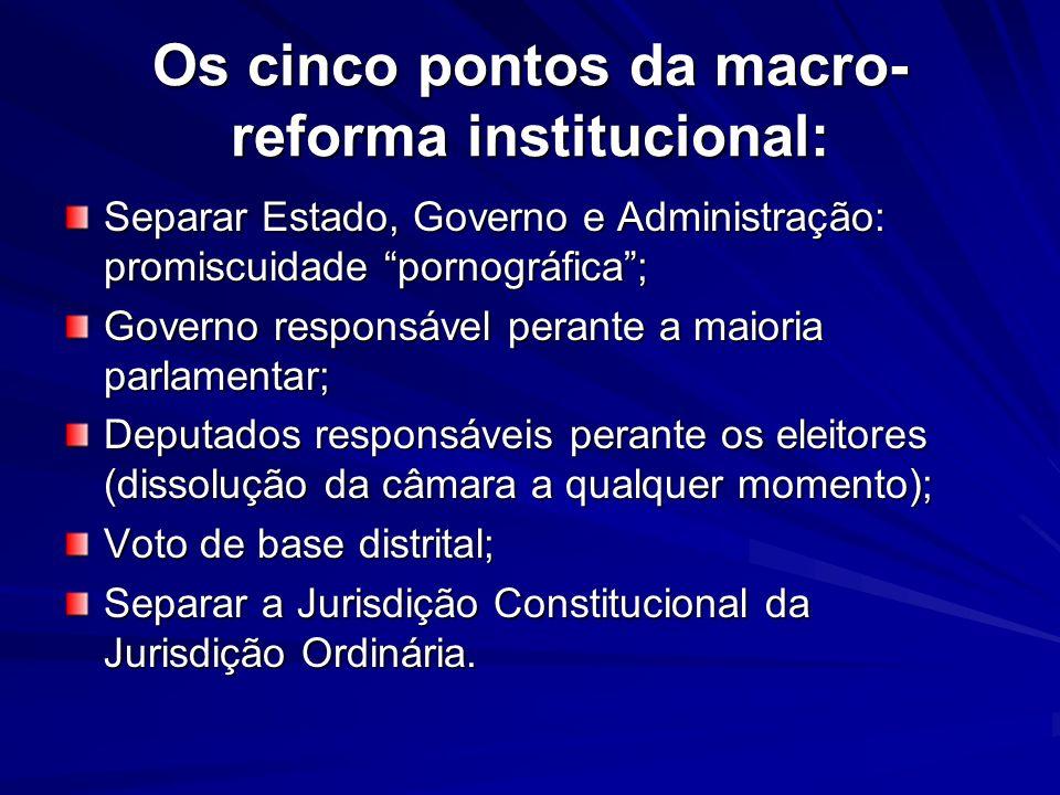 Os cinco pontos da macro-reforma institucional: