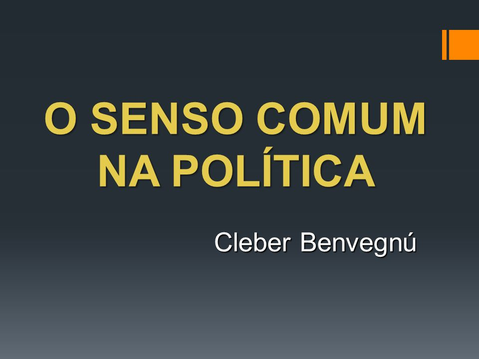 O SENSO COMUM NA POLÍTICA