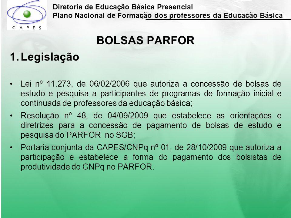 BOLSAS PARFOR Legislação