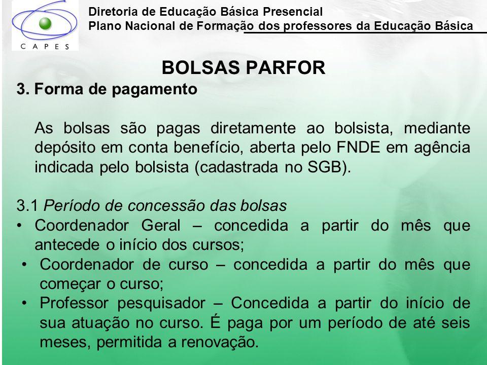 BOLSAS PARFOR 3. Forma de pagamento
