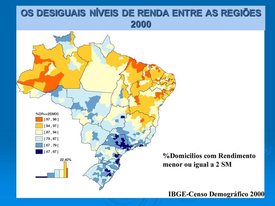 OS DESIGUAIS NÍVEIS DE RENDA ENTRE AS REGIÕES 2000