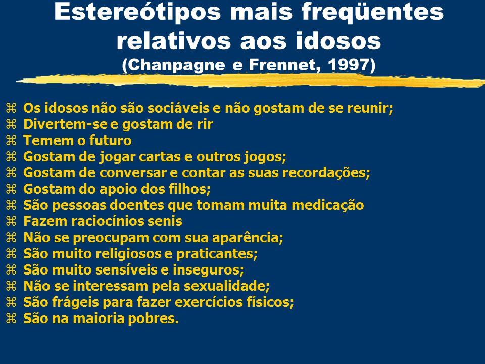 Estereótipos mais freqüentes relativos aos idosos (Chanpagne e Frennet, 1997)