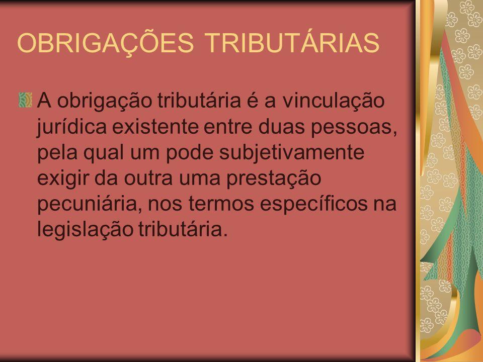OBRIGAÇÕES TRIBUTÁRIAS