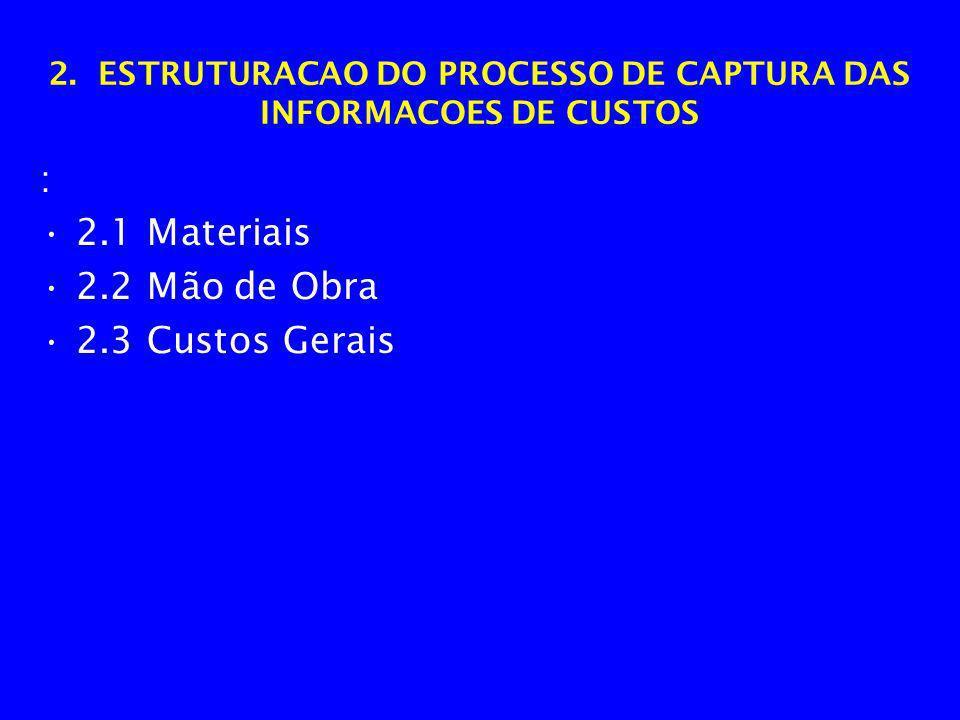 2. ESTRUTURACAO DO PROCESSO DE CAPTURA DAS INFORMACOES DE CUSTOS