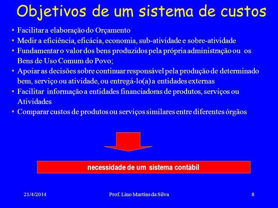 Objetivos de um sistema de custos