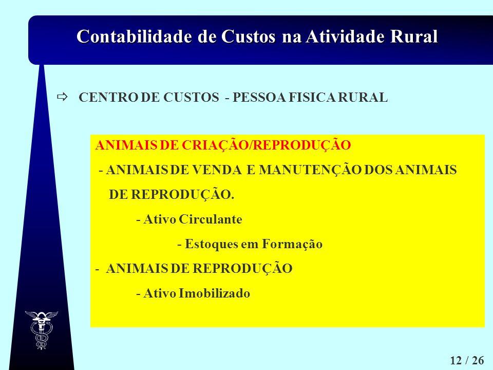 CENTRO DE CUSTOS - PESSOA FISICA RURAL. ANIMAIS DE CRIAÇÃO/REPRODUÇÃO. - ANIMAIS DE VENDA E MANUTENÇÃO DOS ANIMAIS.