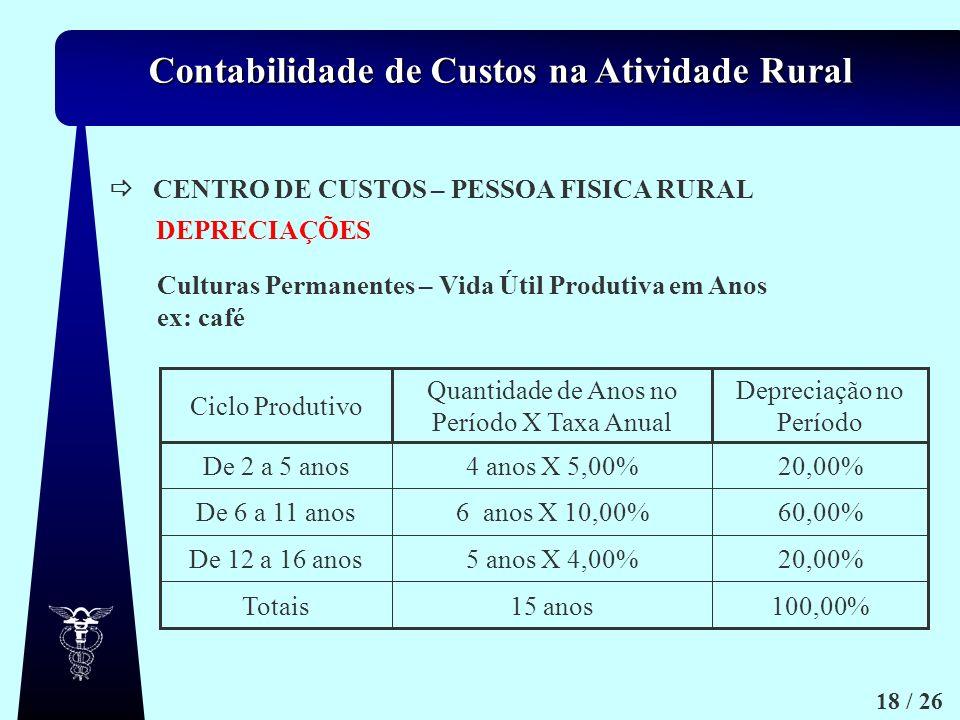 CENTRO DE CUSTOS – PESSOA FISICA RURAL