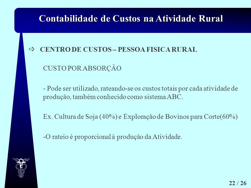  CENTRO DE CUSTOS – PESSOA FISICA RURAL. CUSTO POR ABSORÇÃO.