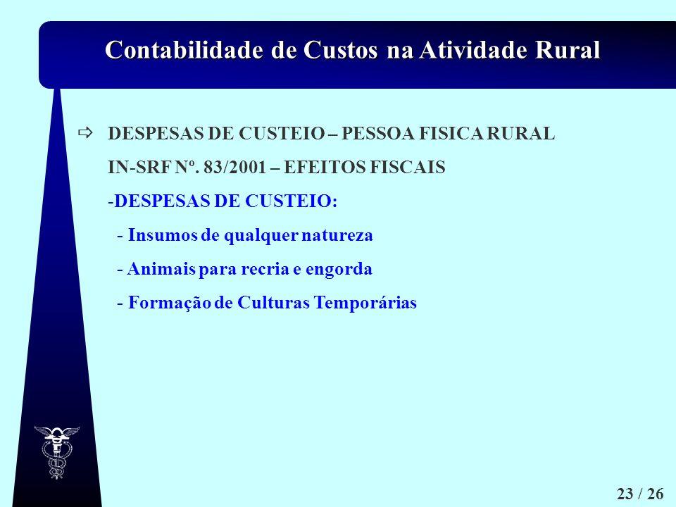  DESPESAS DE CUSTEIO – PESSOA FISICA RURAL. IN-SRF Nº. 83/2001 – EFEITOS FISCAIS. DESPESAS DE CUSTEIO: