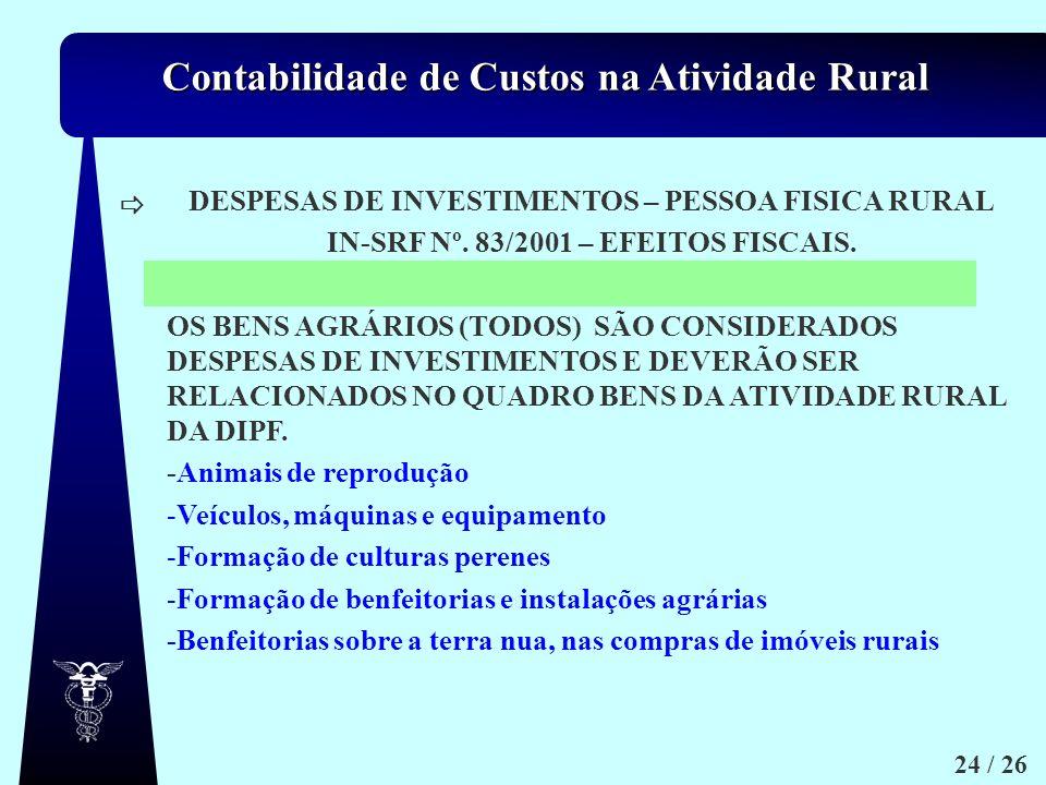 DESPESAS DE INVESTIMENTOS – PESSOA FISICA RURAL