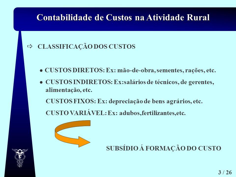 CLASSIFICAÇÃO DOS CUSTOS.  CUSTOS DIRETOS: Ex: mão-de-obra, sementes, rações, etc. 