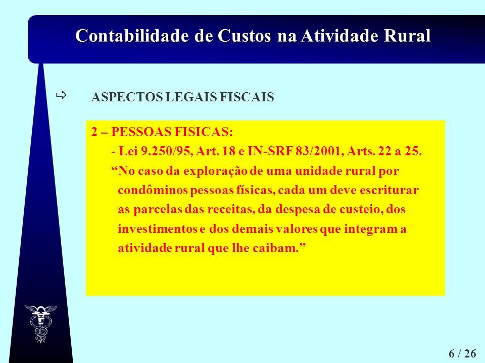 ASPECTOS LEGAIS FISCAIS. 2 – PESSOAS FISICAS: - Lei 9.250/95, Art. 18 e IN-SRF 83/2001, Arts. 22 a 25.