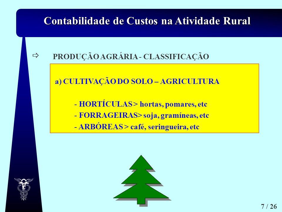  PRODUÇÃO AGRÁRIA - CLASSIFICAÇÃO. a) CULTIVAÇÃO DO SOLO – AGRICULTURA. - HORTÍCULAS > hortas, pomares, etc.