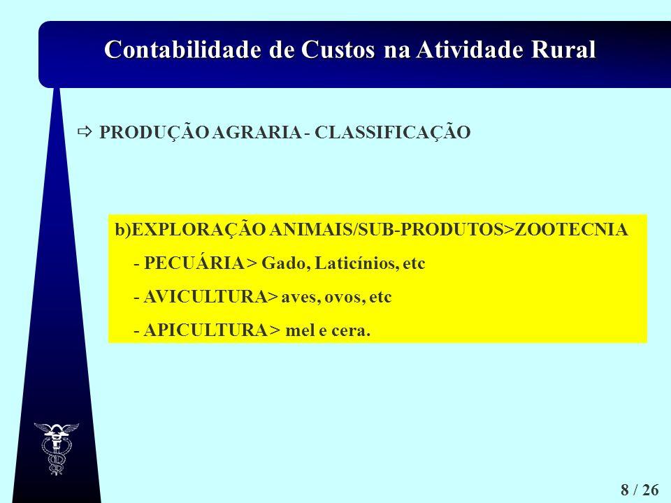  PRODUÇÃO AGRARIA - CLASSIFICAÇÃO. b)EXPLORAÇÃO ANIMAIS/SUB-PRODUTOS>ZOOTECNIA. - PECUÁRIA > Gado, Laticínios, etc.