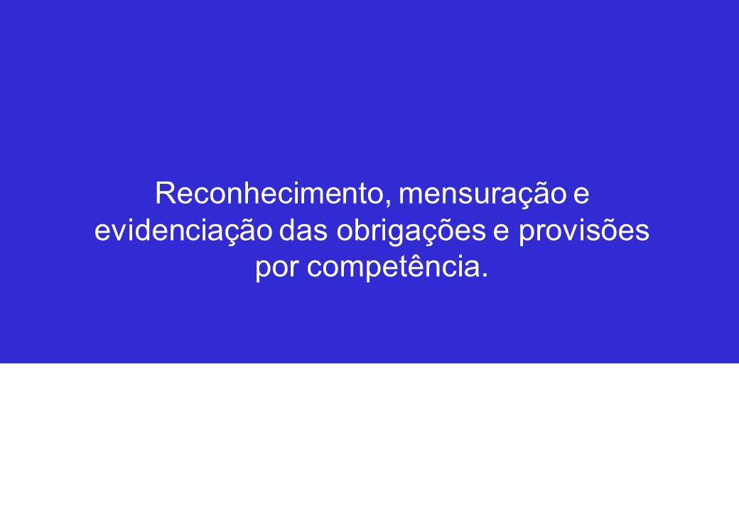 Reconhecimento, mensuração e evidenciação das obrigações e provisões por competência.