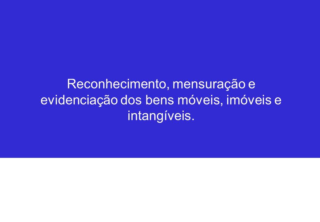 Reconhecimento, mensuração e evidenciação dos bens móveis, imóveis e intangíveis.