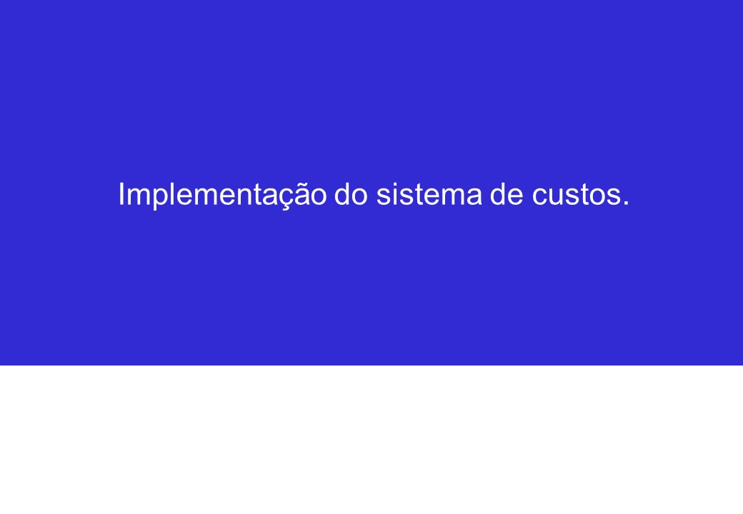 Implementação do sistema de custos.