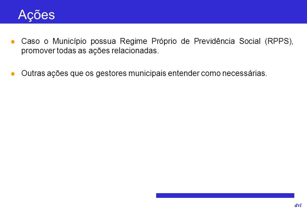 Ações Caso o Município possua Regime Próprio de Previdência Social (RPPS), promover todas as ações relacionadas.