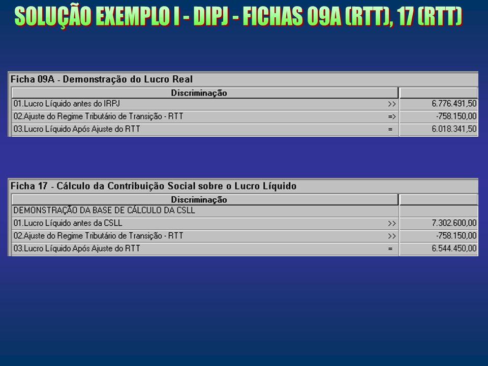 SOLUÇÃO EXEMPLO I - DIPJ - FICHAS 09A (RTT), 17 (RTT)