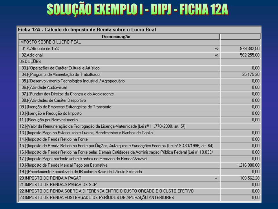 SOLUÇÃO EXEMPLO I - DIPJ - FICHA 12A