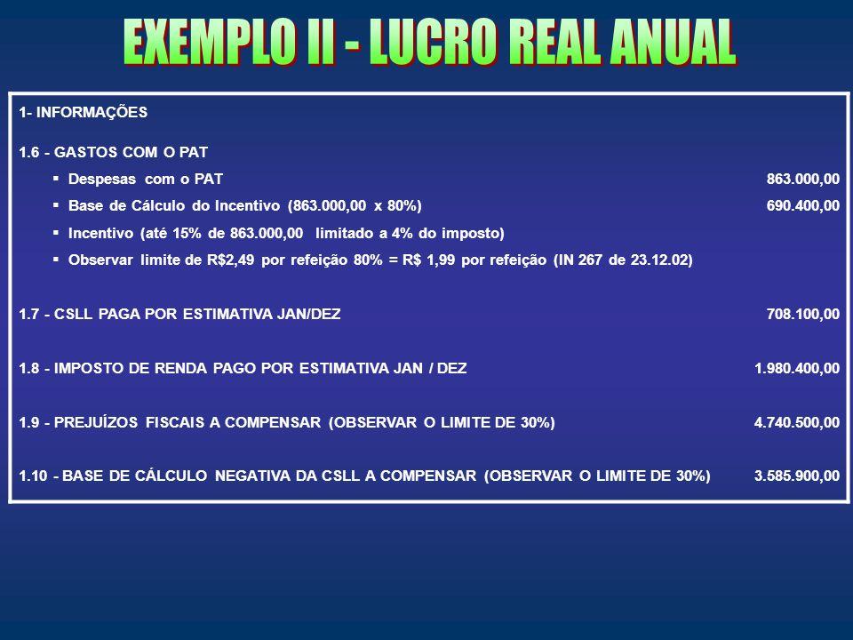 EXEMPLO II - LUCRO REAL ANUAL