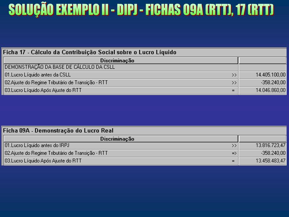 SOLUÇÃO EXEMPLO II - DIPJ - FICHAS 09A (RTT), 17 (RTT)