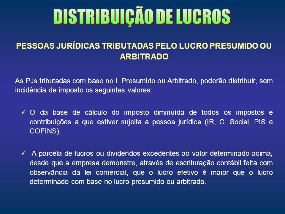PESSOAS JURÍDICAS TRIBUTADAS PELO LUCRO PRESUMIDO OU ARBITRADO