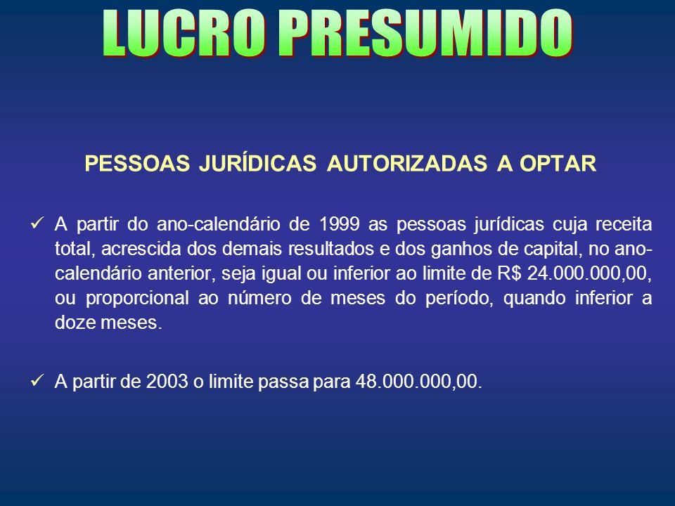 PESSOAS JURÍDICAS AUTORIZADAS A OPTAR
