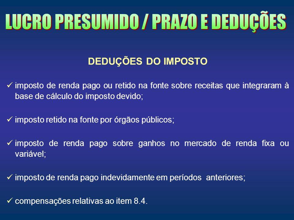 LUCRO PRESUMIDO / PRAZO E DEDUÇÕES