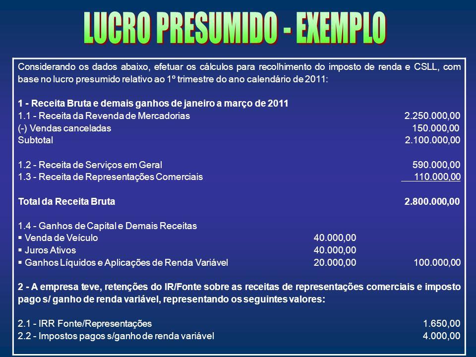 LUCRO PRESUMIDO - EXEMPLO