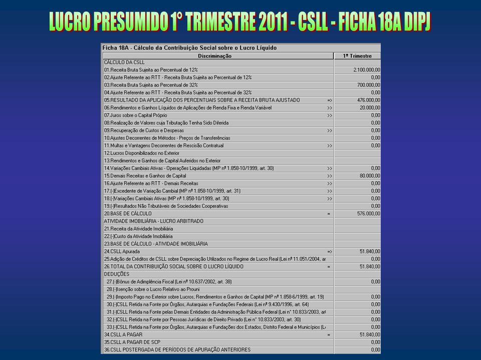 LUCRO PRESUMIDO 1° TRIMESTRE 2011 - CSLL - FICHA 18A DIPJ