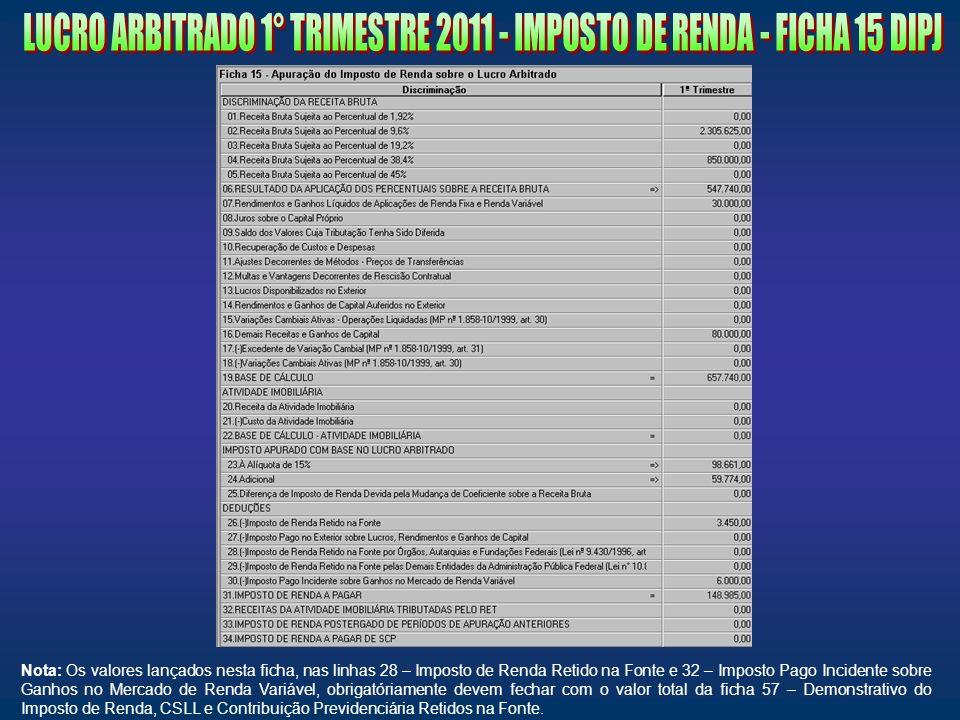 LUCRO ARBITRADO 1° TRIMESTRE 2011 - IMPOSTO DE RENDA - FICHA 15 DIPJ