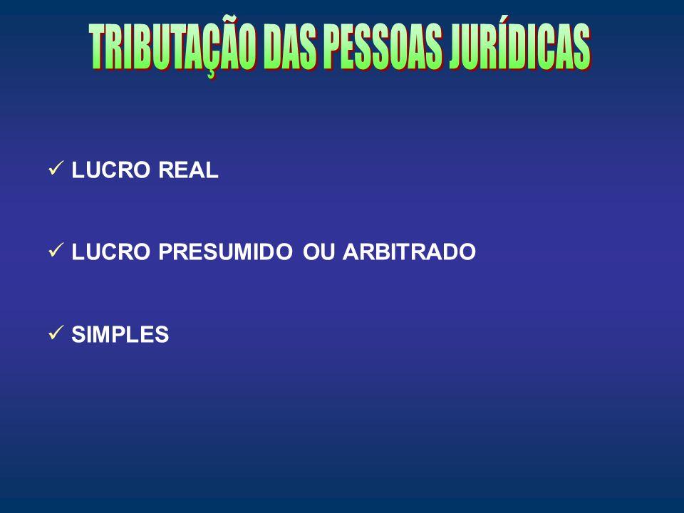 TRIBUTAÇÃO DAS PESSOAS JURÍDICAS