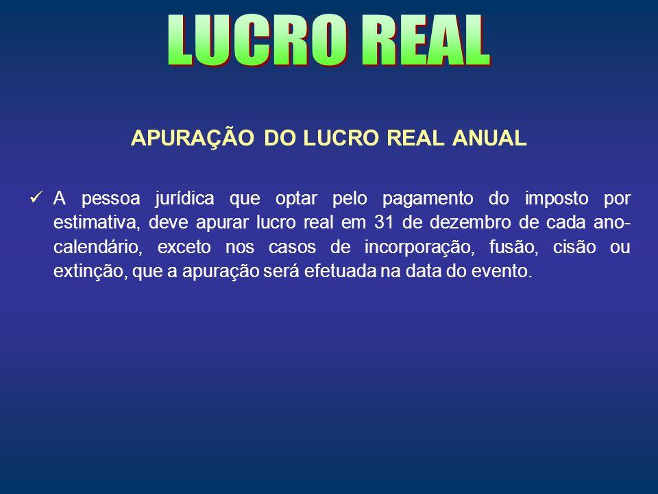 APURAÇÃO DO LUCRO REAL ANUAL
